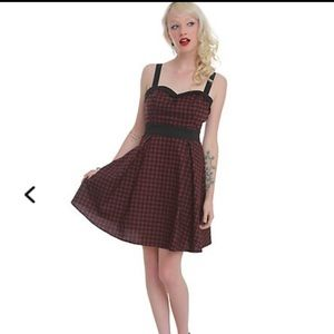 Hot Topic Burgundy and Black Gingham Dress